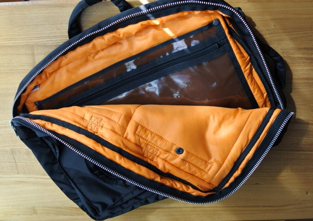 内装。3way仕様のビジネス・カジュアル兼用 バッグはポーター(porter)・タンカー・3WAYブリーフ (ブラック) 622-09308
