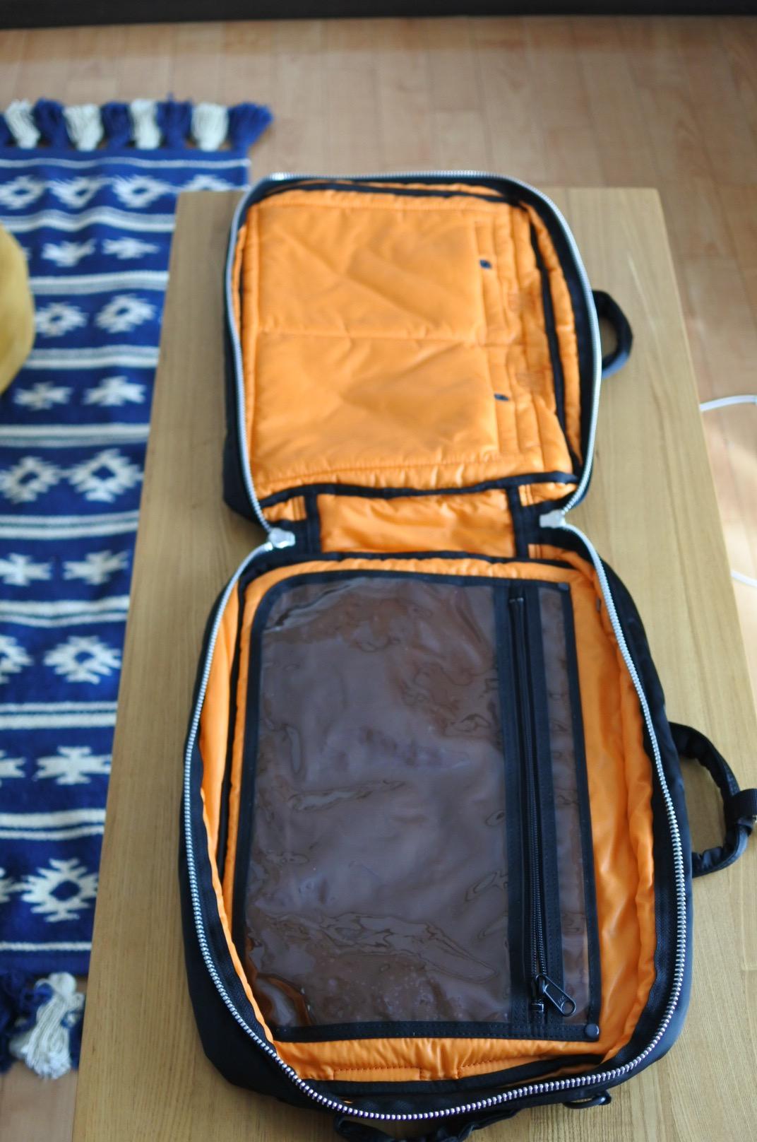 開いた状態。3way仕様のビジネス・カジュアル兼用 バッグはポーター(porter)・タンカー・3WAYブリーフ (ブラック) 622-09308