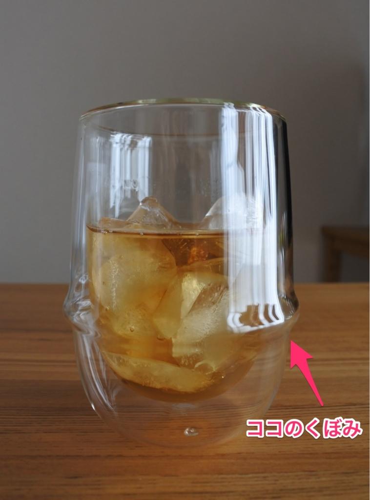 【画像】KINTO(キントー)アイスティーグラスのくぼみ部分
