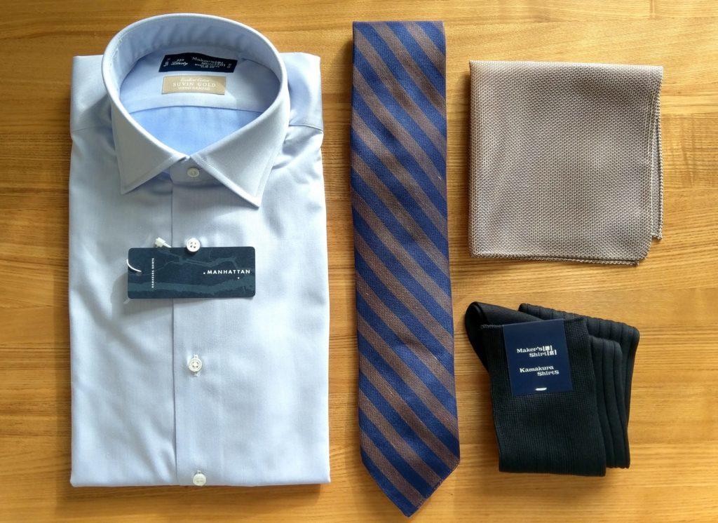 【画像】鎌倉シャツ、ネクタイ、チーフ、靴下