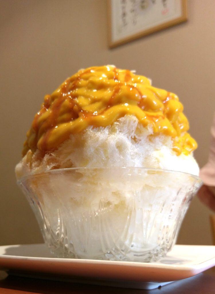 【画像】宮崎台ティーハウスマユールかぼちゃみるくかき氷横から