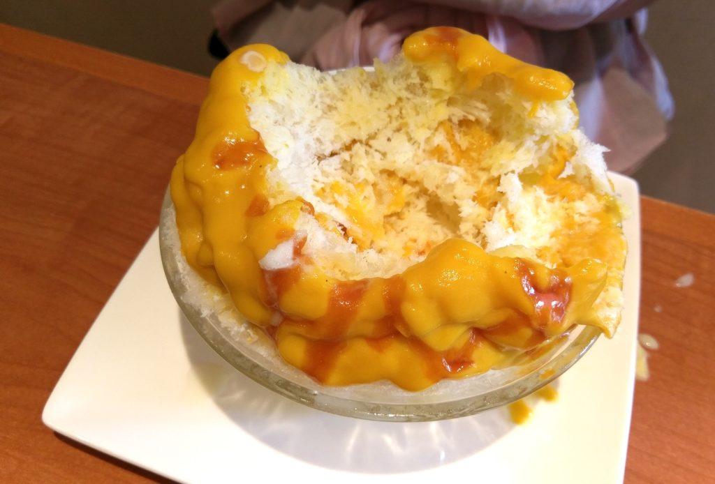 【画像】宮崎台ティーハウスマユールかぼちゃみるくかき氷食べてる途中