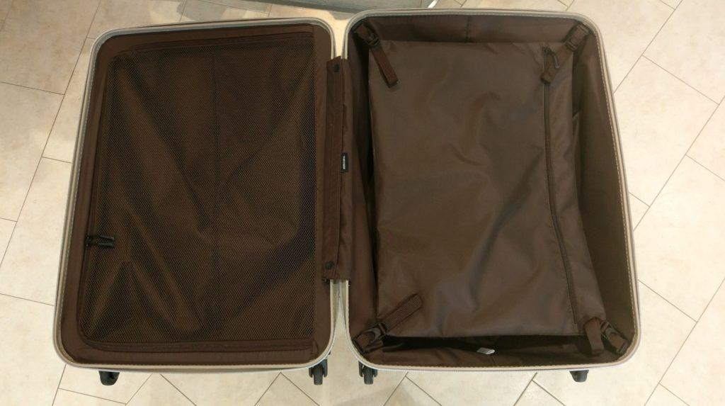 """【画像】シフレの極軽スーツケース""""ゼログラ""""の内装閉じたver"""
