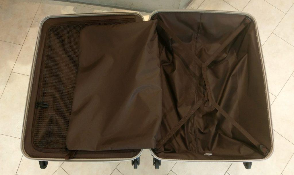 """【画像】シフレの極軽スーツケース""""ゼログラ""""内装開けたver"""