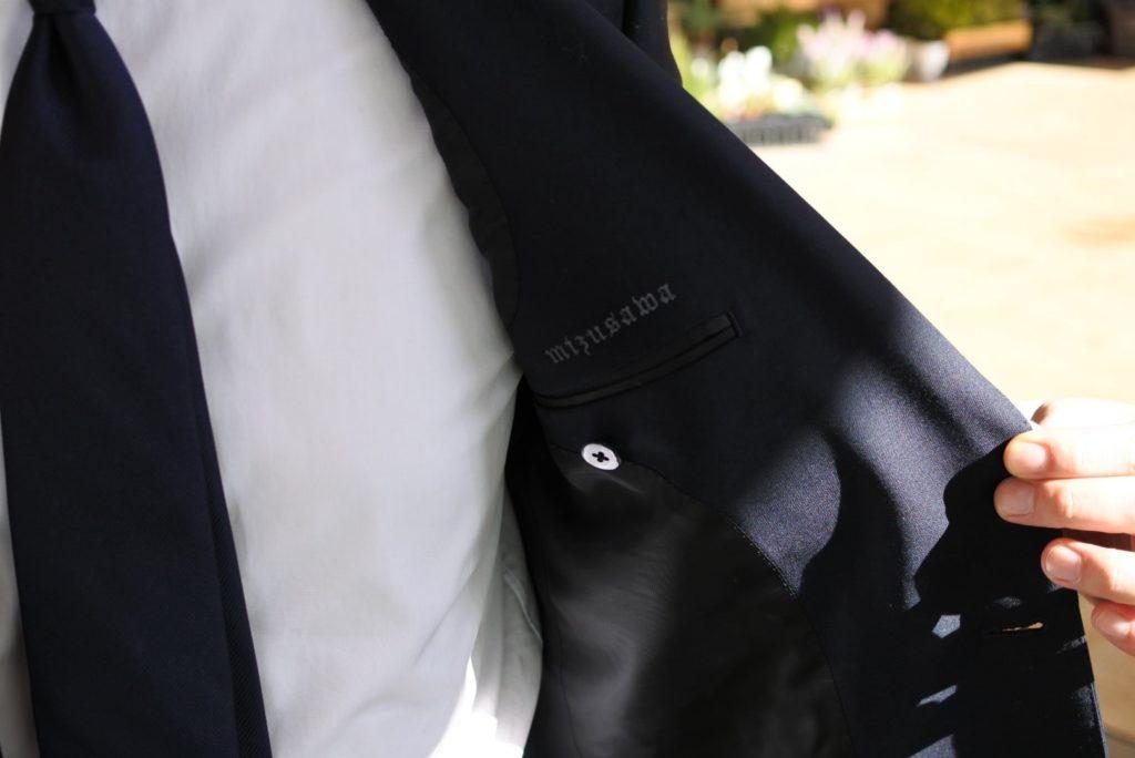 【画像】ゾゾのビジネススーツを着てみた裏地ネーム